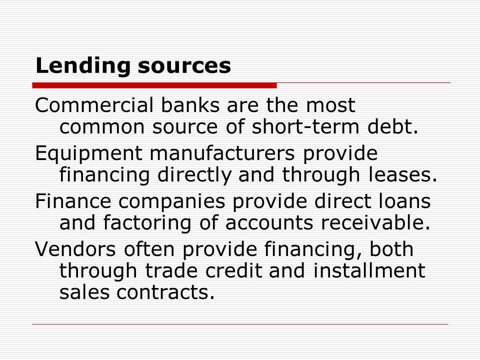 Lending sources cont.