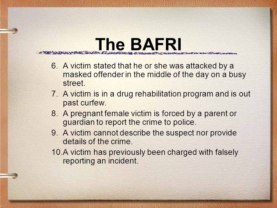 The BAFRI 6.A victim stated that he or she was attacked by a masked offender in the middle of the day on a busy street.