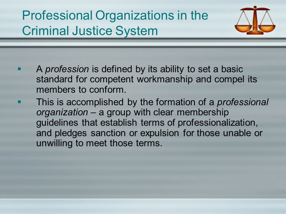 Professional Organizations in the Criminal Justice System A profession is defined by its ability to set a basic standard for competent workmanship and compel its members to conform.