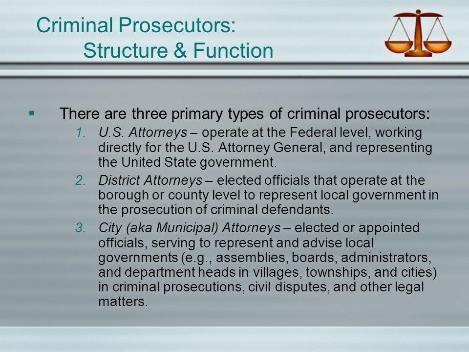 Criminal Prosecutors: Structure & Function The criminal prosecutors mission is straight forward – the just prosecution of criminal defendants.