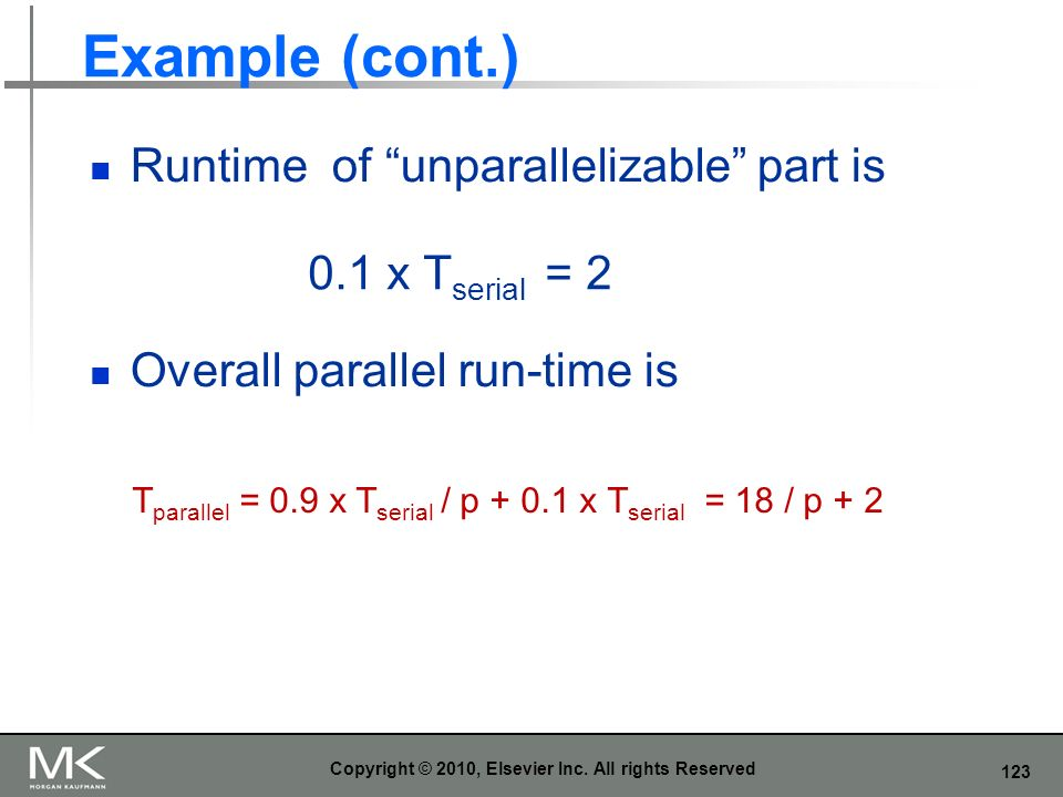 123 Example (cont.) Runtime of unparallelizable part is Overall parallel run-time is Copyright © 2010, Elsevier Inc. All rights Reserved 0.1 x T seria