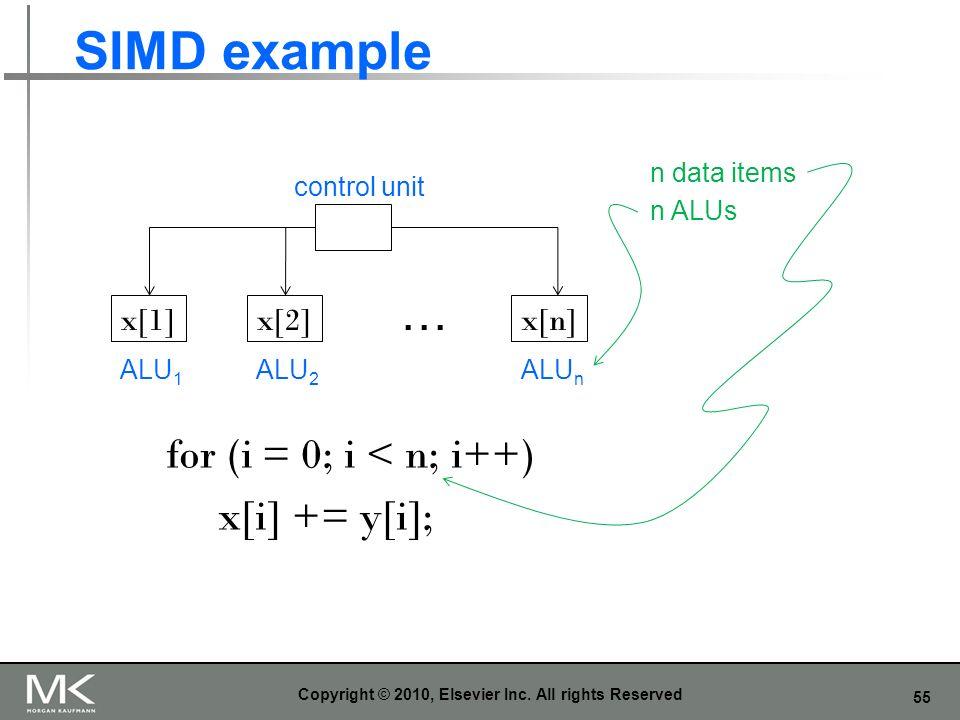 55 SIMD example Copyright © 2010, Elsevier Inc. All rights Reserved control unit ALU 1 ALU 2 ALU n … for (i = 0; i < n; i++) x[i] += y[i]; x[1]x[2]x[n