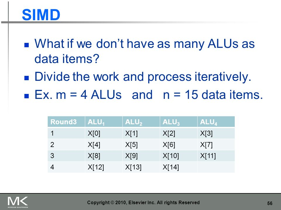 56 SIMD What if we dont have as many ALUs as data items? Divide the work and process iteratively. Ex. m = 4 ALUs and n = 15 data items. Copyright © 20