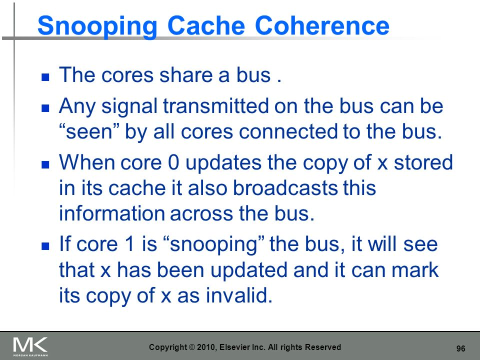 96 Snooping Cache Coherence The cores share a bus. Any signal transmitted on the bus can be seen by all cores connected to the bus. When core 0 update