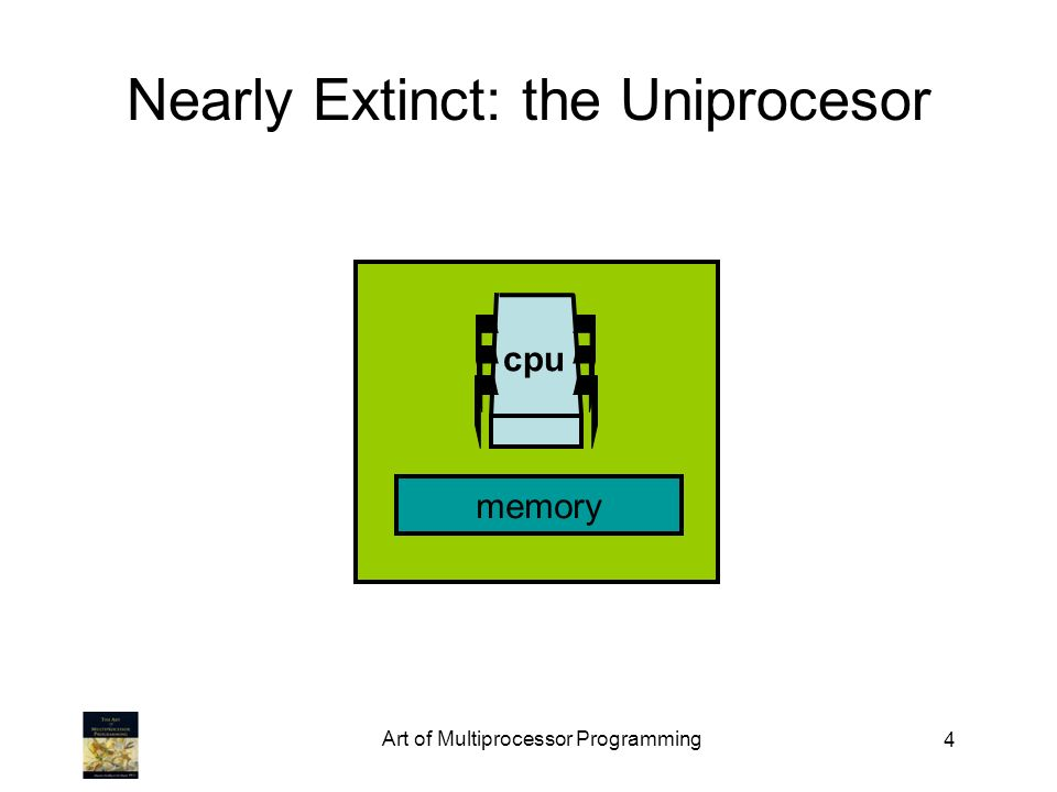 Art of Multiprocessor Programming 5 Endangered: The Shared Memory Multiprocessor (SMP) cache Bus shared memory cache