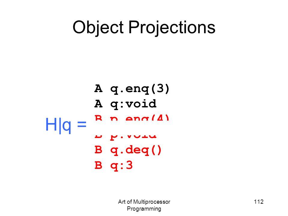 Art of Multiprocessor Programming 112 Object Projections A q.enq(3) A q:void B p.enq(4) B p:void B q.deq() B q:3 H|q =