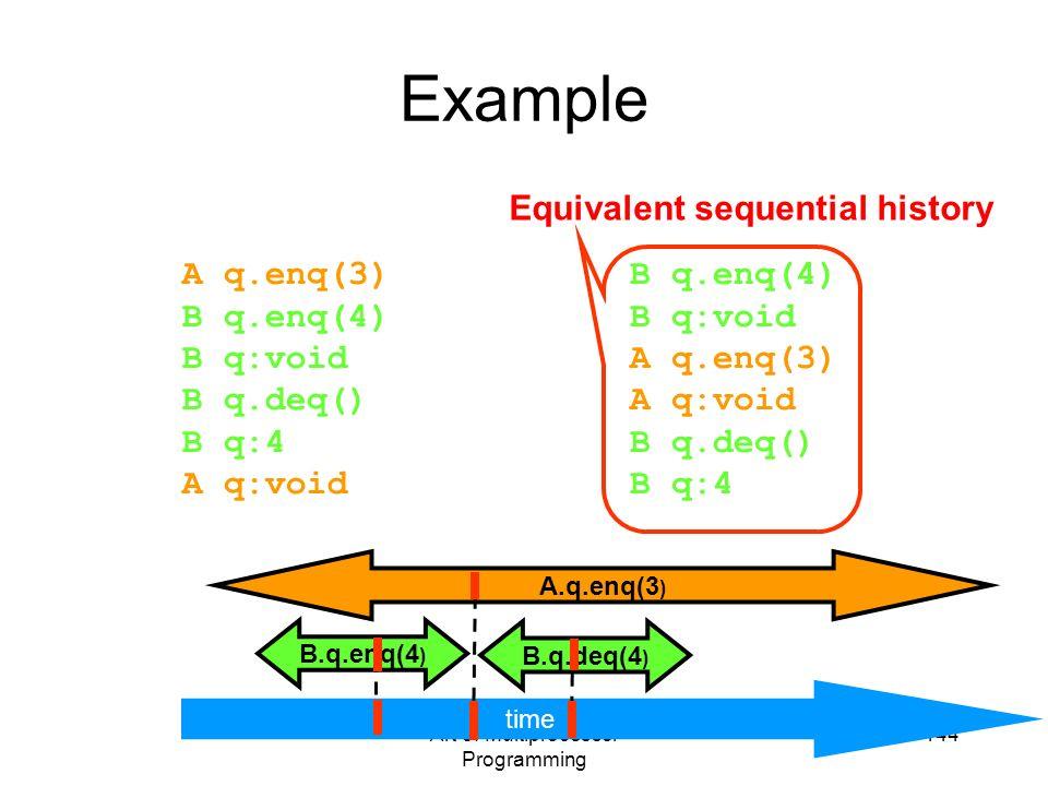 Art of Multiprocessor Programming 144 B.q.enq(4 ) B.q.deq(4 ) A.q.enq(3 ) A q.enq(3) B q.enq(4) B q:void B q.deq() B q:4 A q:void Example time B q.enq