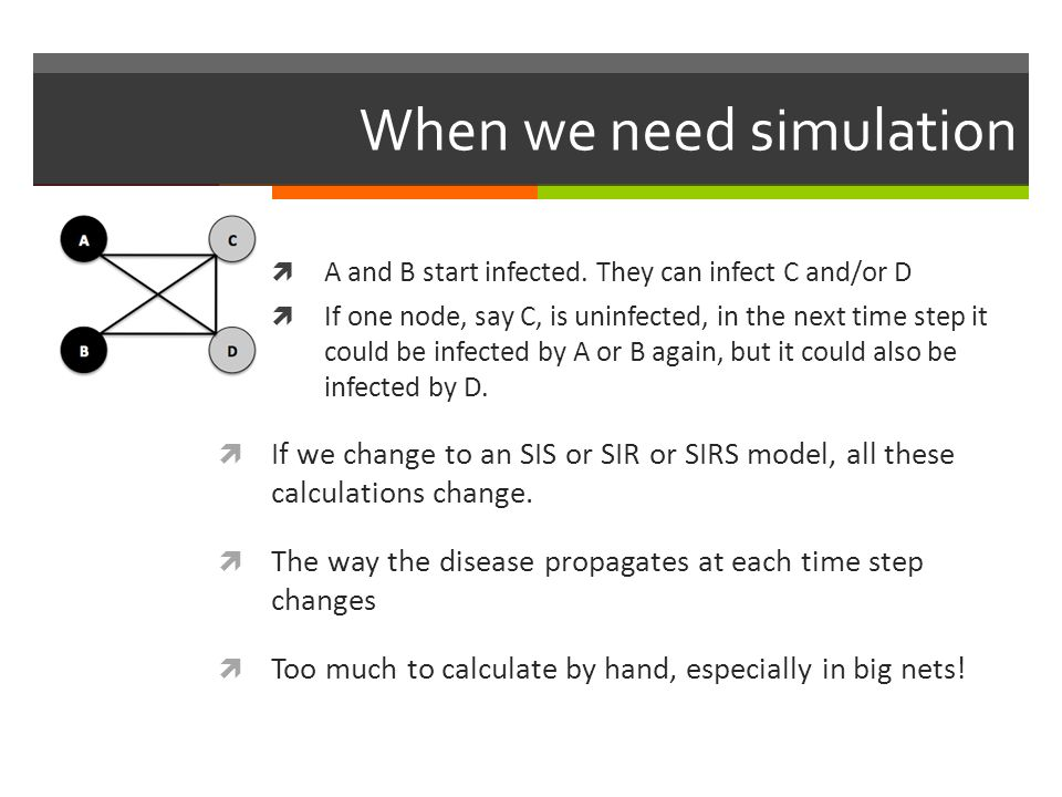 When we need simulation A and B start infected. They can infect C and/or D If one node, say C, is uninfected, in the next time step it could be infect