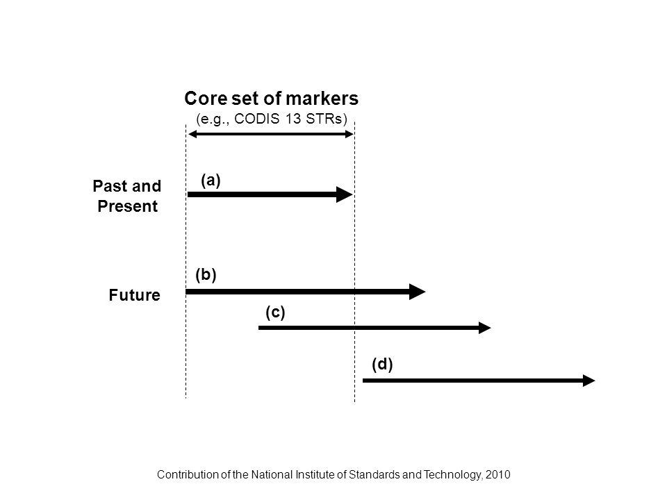 Contribution of the National Institute of Standards and Technology, 2010 Core set of markers (e.g., CODIS 13 STRs) Past and Present Future (a) (b) (c)