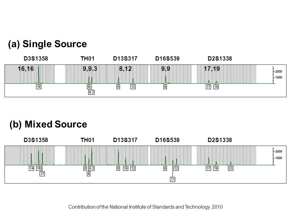 Contribution of the National Institute of Standards and Technology, 2010 (a) Single Source D3S1358TH01D13S317D16S539D2S1338 16,169,9.38,129,917,19 (b)