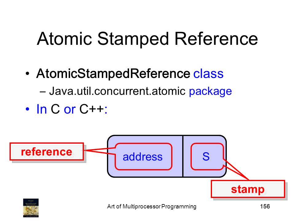 Art of Multiprocessor Programming156 Atomic Stamped Reference AtomicStampedReference class –Java.util.concurrent.atomic package In C or C++: address S reference stamp
