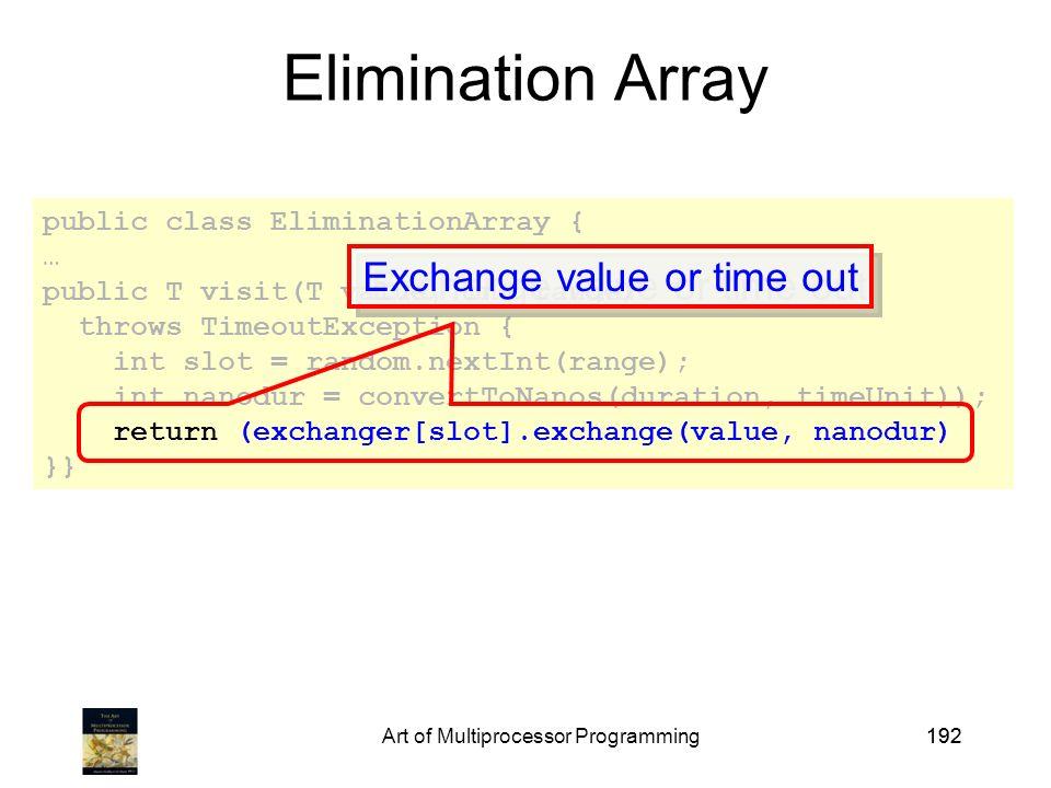 Art of Multiprocessor Programming192 public class EliminationArray { … public T visit(T value, int range) throws TimeoutException { int slot = random.nextInt(range); int nanodur = convertToNanos(duration, timeUnit)); return (exchanger[slot].exchange(value, nanodur) }} Elimination Array Exchange value or time out