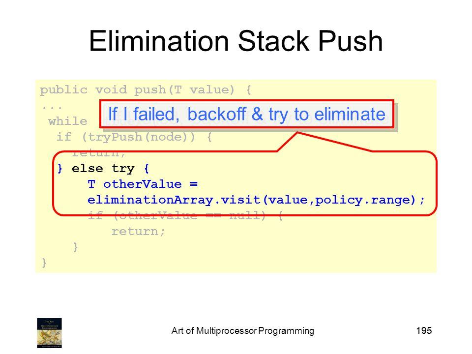 Art of Multiprocessor Programming195 public void push(T value) {...