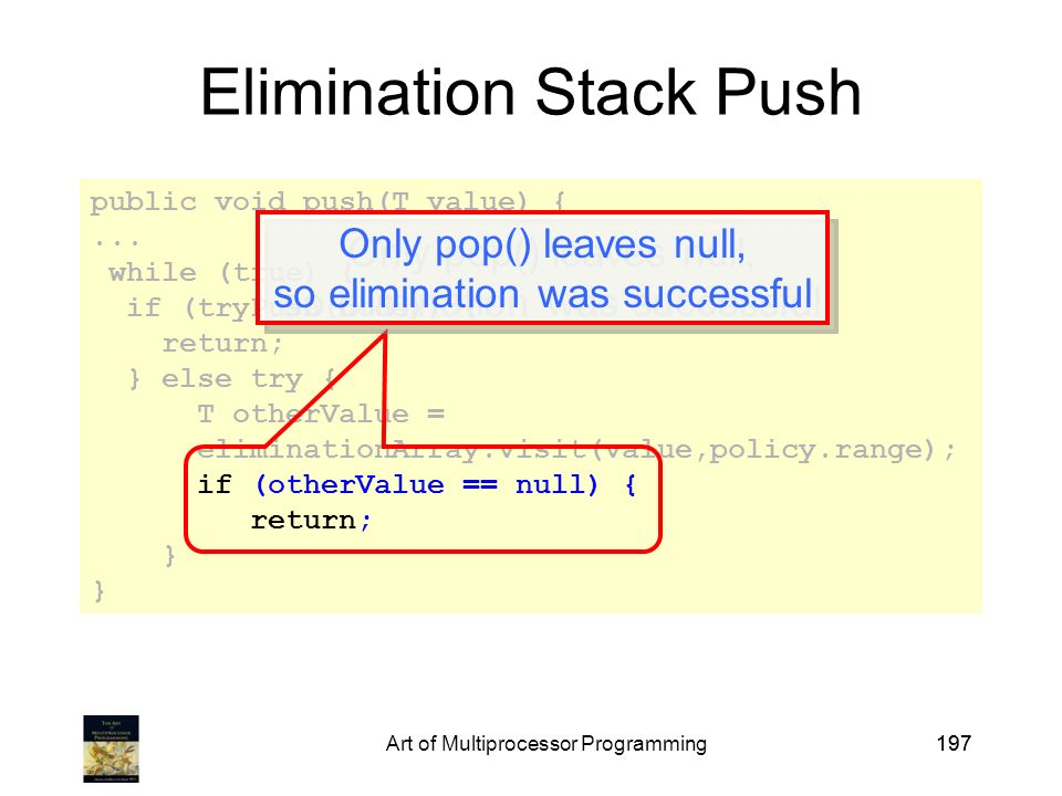 Art of Multiprocessor Programming197 public void push(T value) {...