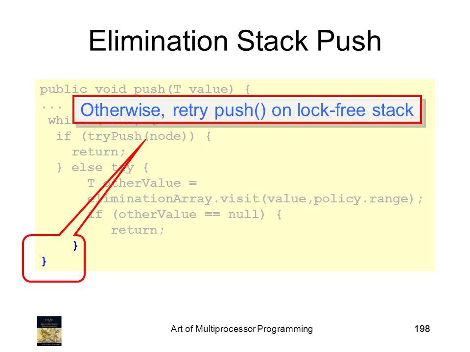 Art of Multiprocessor Programming198 public void push(T value) {...