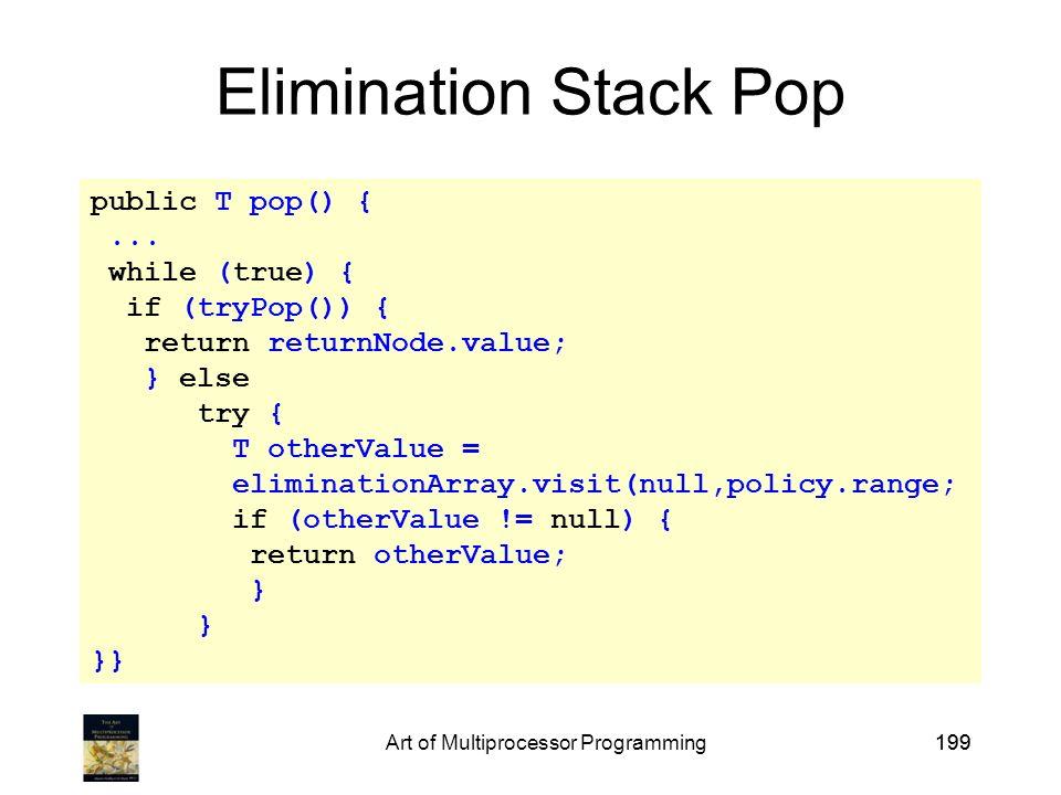 Art of Multiprocessor Programming199 public T pop() {...