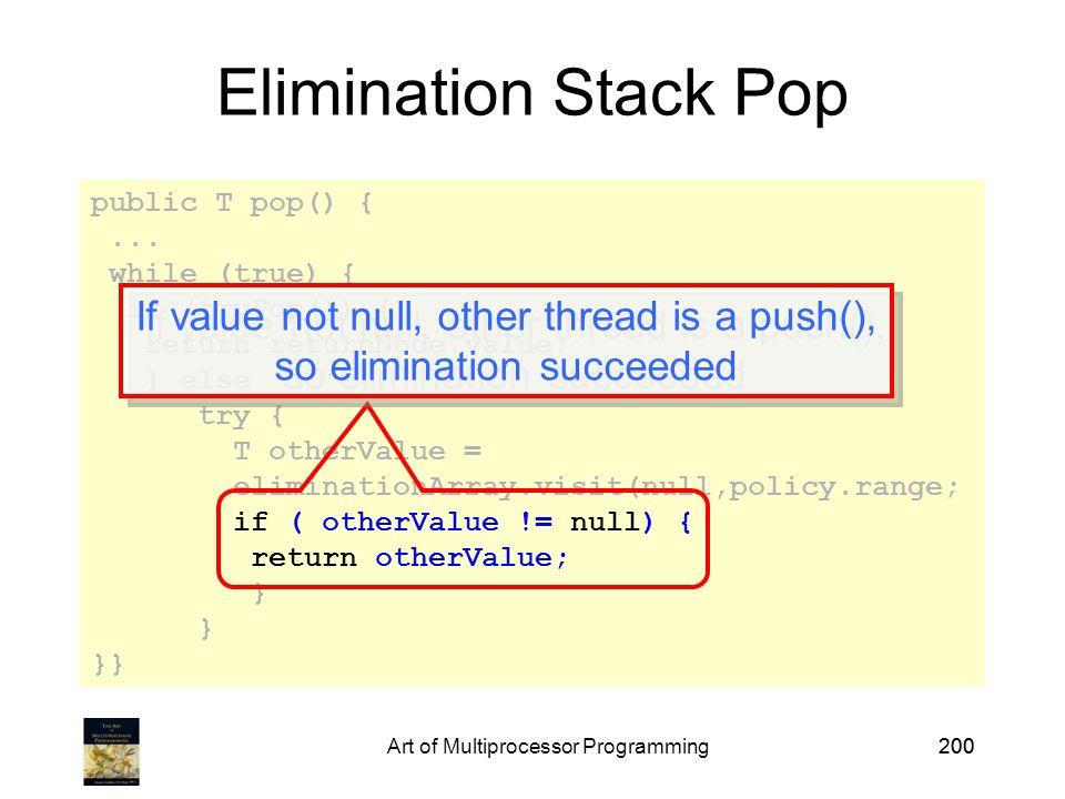 Art of Multiprocessor Programming200 public T pop() {...