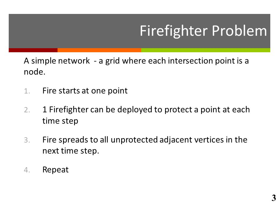 Firefighter Problem A simple network - a grid where each intersection point is a node. 1. Fire starts at one point 2. 1 Firefighter can be deployed to