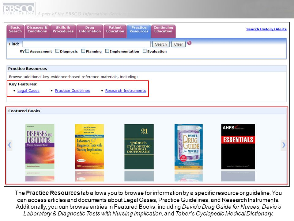 The Practice Resources tab allows you to browse for information by a specific resource or guideline.