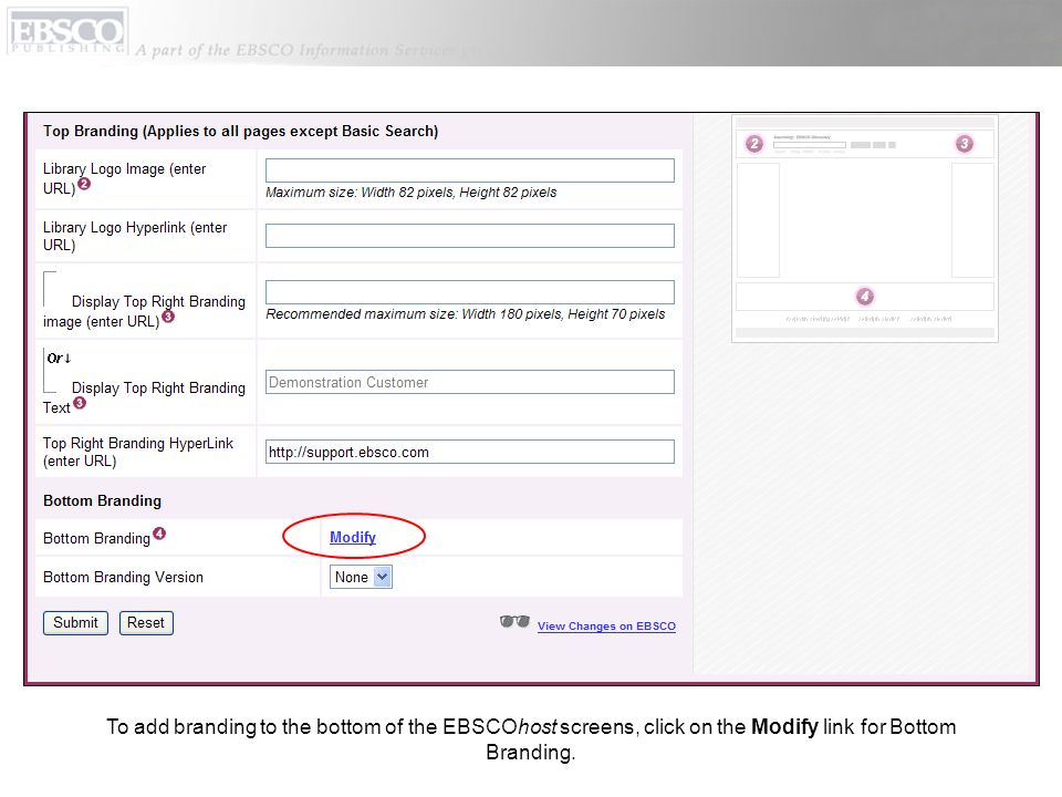 To add branding to the bottom of the EBSCOhost screens, click on the Modify link for Bottom Branding.