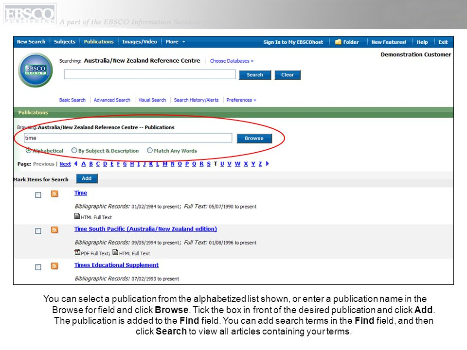 You can select a publication from the alphabetized list shown, or enter a publication name in the Browse for field and click Browse.