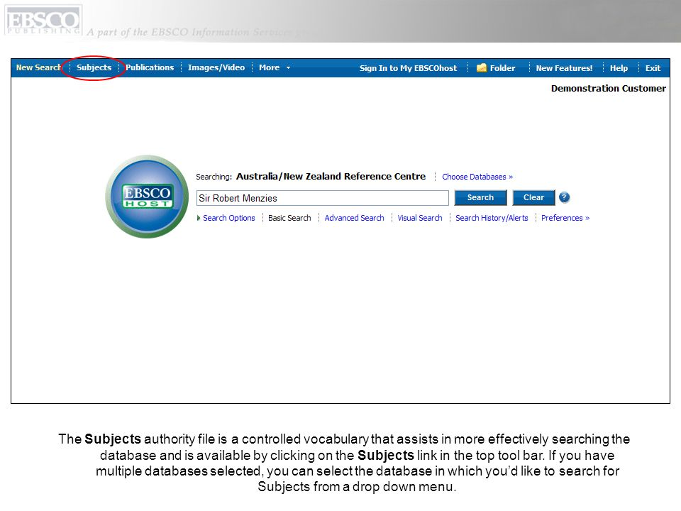 The Subjects authority file is a controlled vocabulary that assists in more effectively searching the database and is available by clicking on the Sub