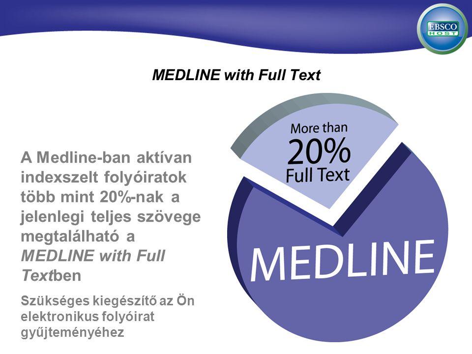 MEDLINE with Full Text A Medline-ban aktívan indexszelt folyóiratok több mint 20%-nak a jelenlegi teljes szövege megtalálható a MEDLINE with Full Textben Szükséges kiegészítő az Ön elektronikus folyóirat gyűjteményéhez