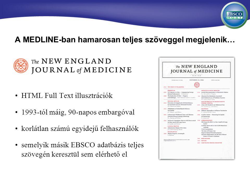 A MEDLINE-ban hamarosan teljes szöveggel megjelenik… HTML Full Text illusztrációk 1993-tól máig, 90-napos embargóval korlátlan számú egyidejű felhasználók semelyik másik EBSCO adatbázis teljes szövegén keresztül sem elérhető el