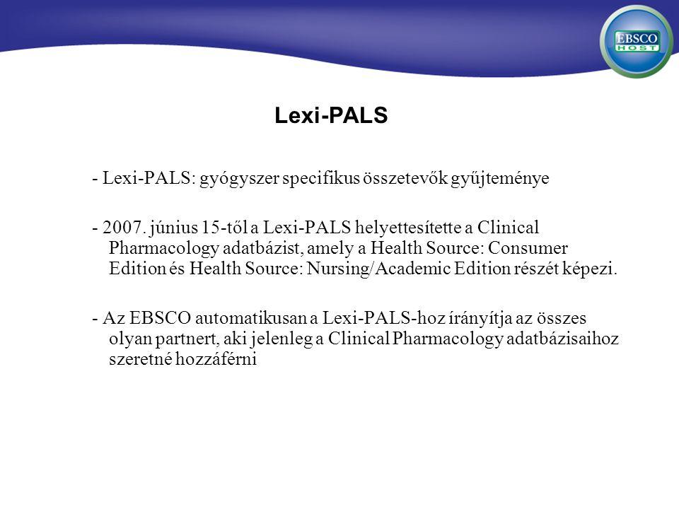 Lexi-PALS - Lexi-PALS: gyógyszer specifikus összetevők gyűjteménye - 2007.