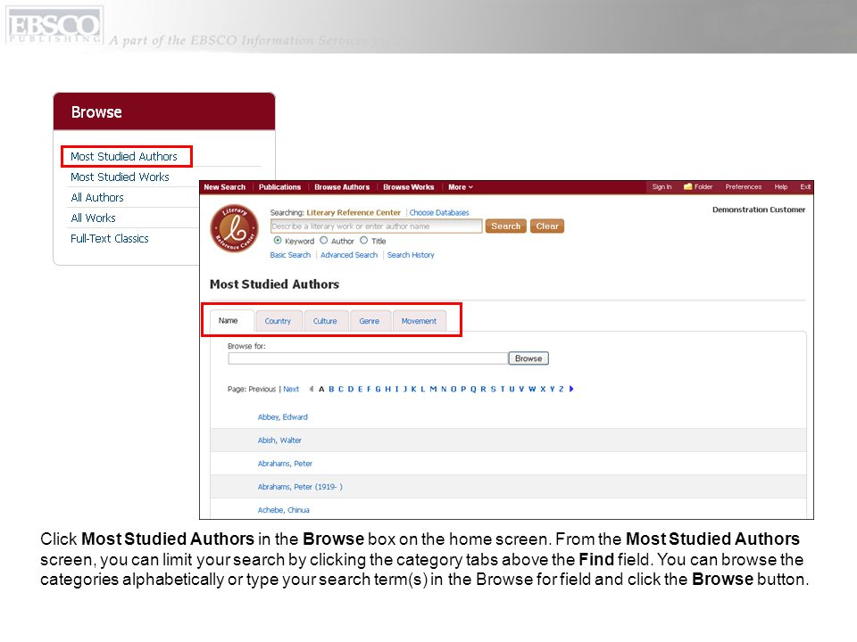 Click Most Studied Authors in the Browse box on the home screen.