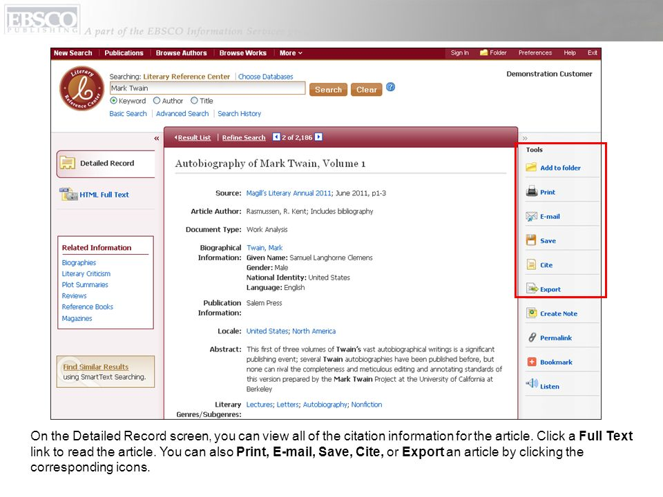 On the Detailed Record screen, you can view all of the citation information for the article.
