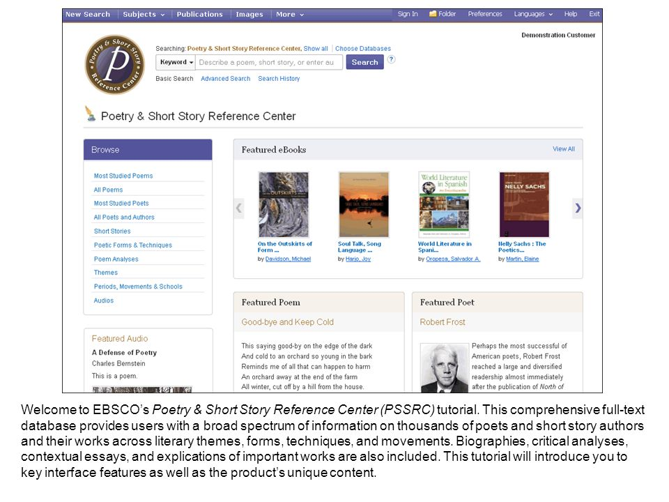 Searching Poetry & Short Story Reference Center is easy.