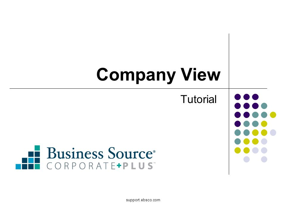 support.ebsco.com Company View Tutorial