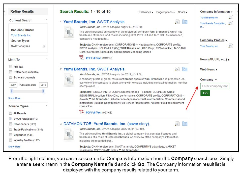 From the right column, you can also search for Company Information from the Company search box.