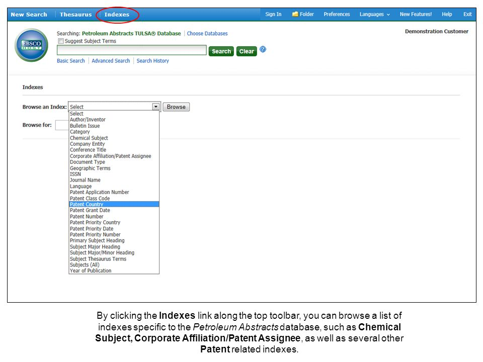 By clicking the Indexes link along the top toolbar, you can browse a list of indexes specific to the Petroleum Abstracts database, such as Chemical Su