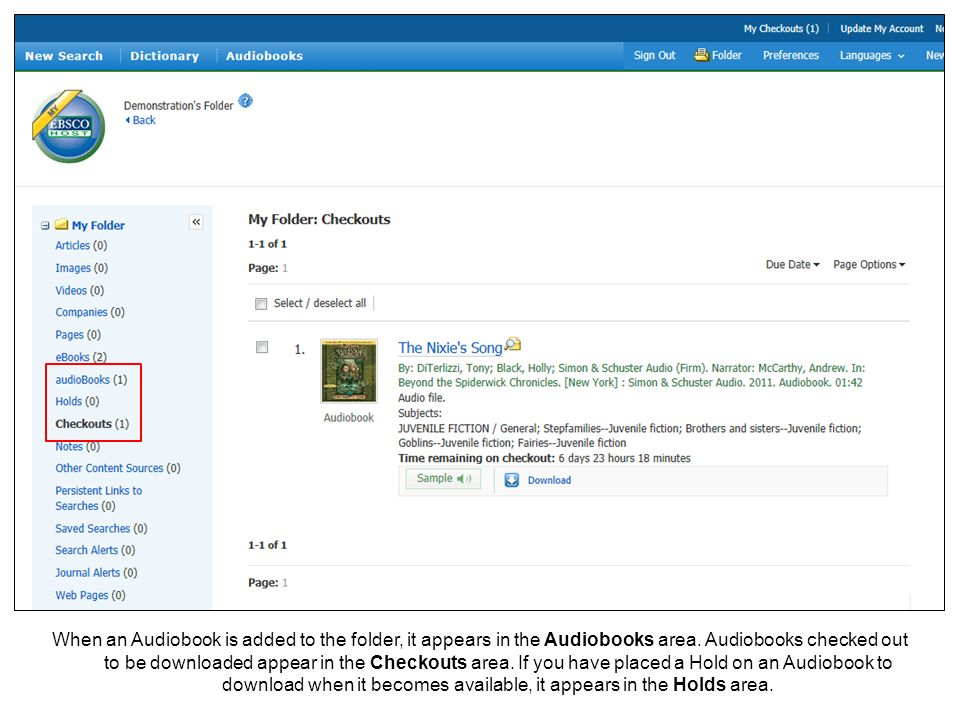 When an Audiobook is added to the folder, it appears in the Audiobooks area.