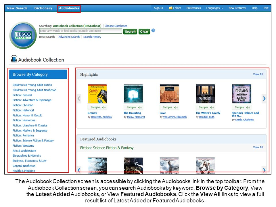 The Audiobook Collection screen is accessible by clicking the Audiobooks link in the top toolbar.