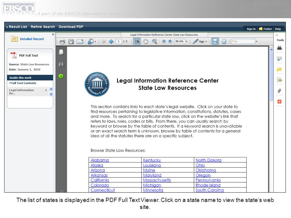 The list of states is displayed in the PDF Full Text Viewer.
