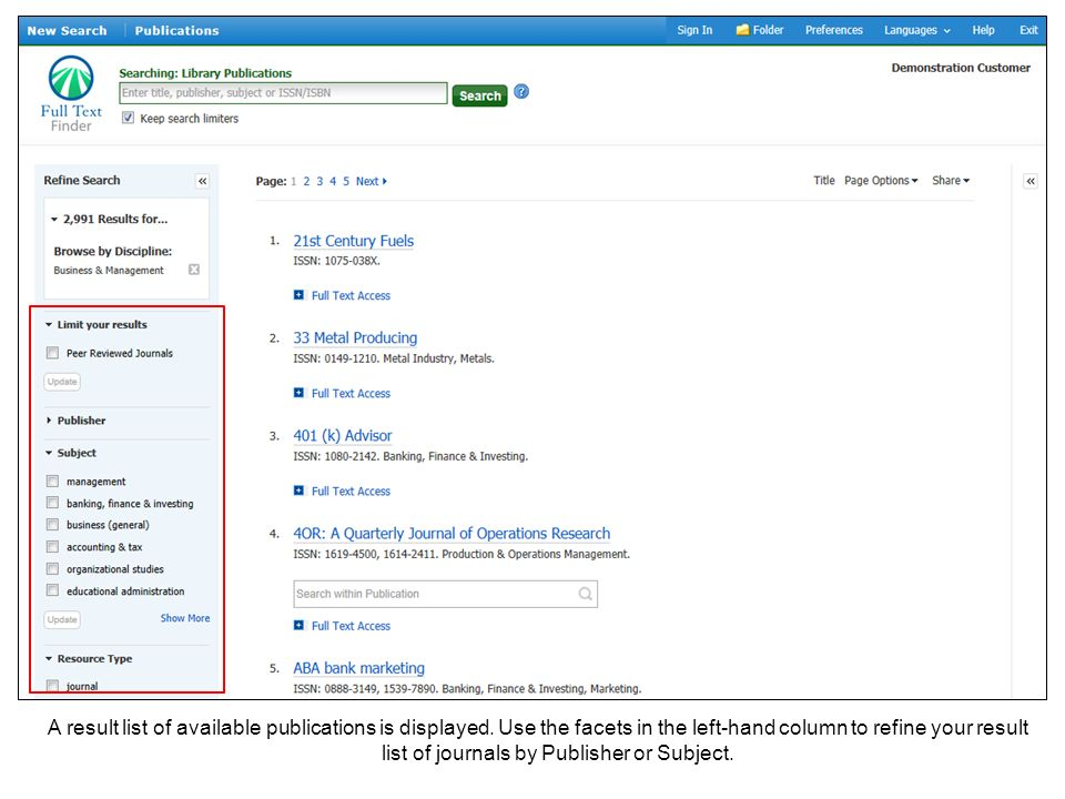 A result list of available publications is displayed.