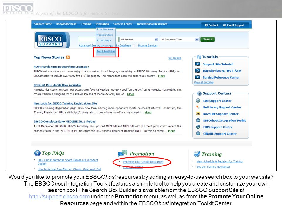 Would you like to promote your EBSCOhost resources by adding an easy-to-use search box to your website? The EBSCOhost Integration Toolkit features a s