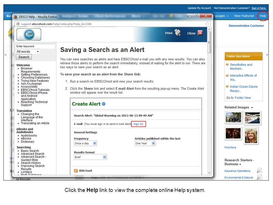 Click the Help link to view the complete online Help system.