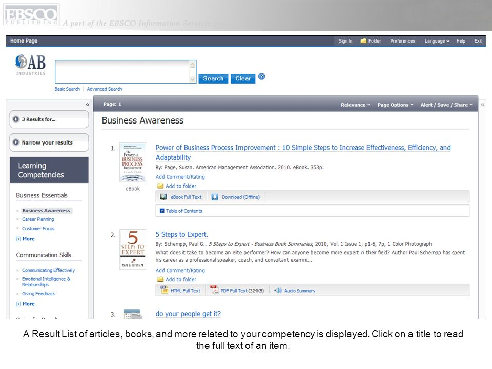A Result List of articles, books, and more related to your competency is displayed.