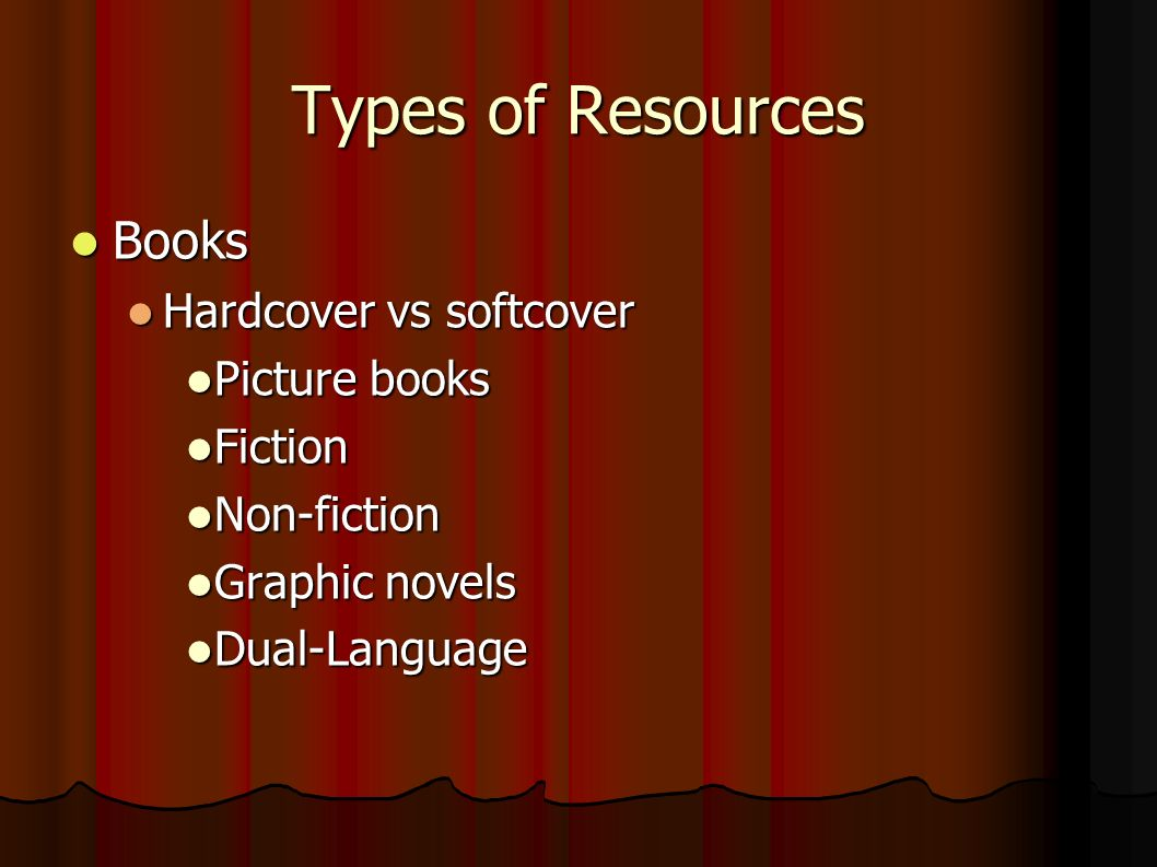 Types of Resources Books Books Hardcover vs softcover Hardcover vs softcover Picture books Picture books Fiction Fiction Non-fiction Non-fiction Graphic novels Graphic novels Dual-Language Dual-Language