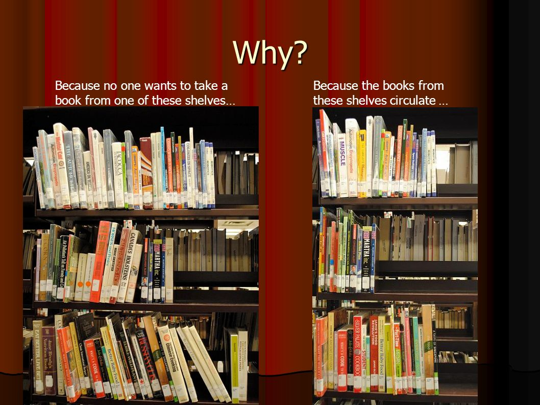 Why? Because no one wants to take a book from one of these shelves… Because the books from these shelves circulate …