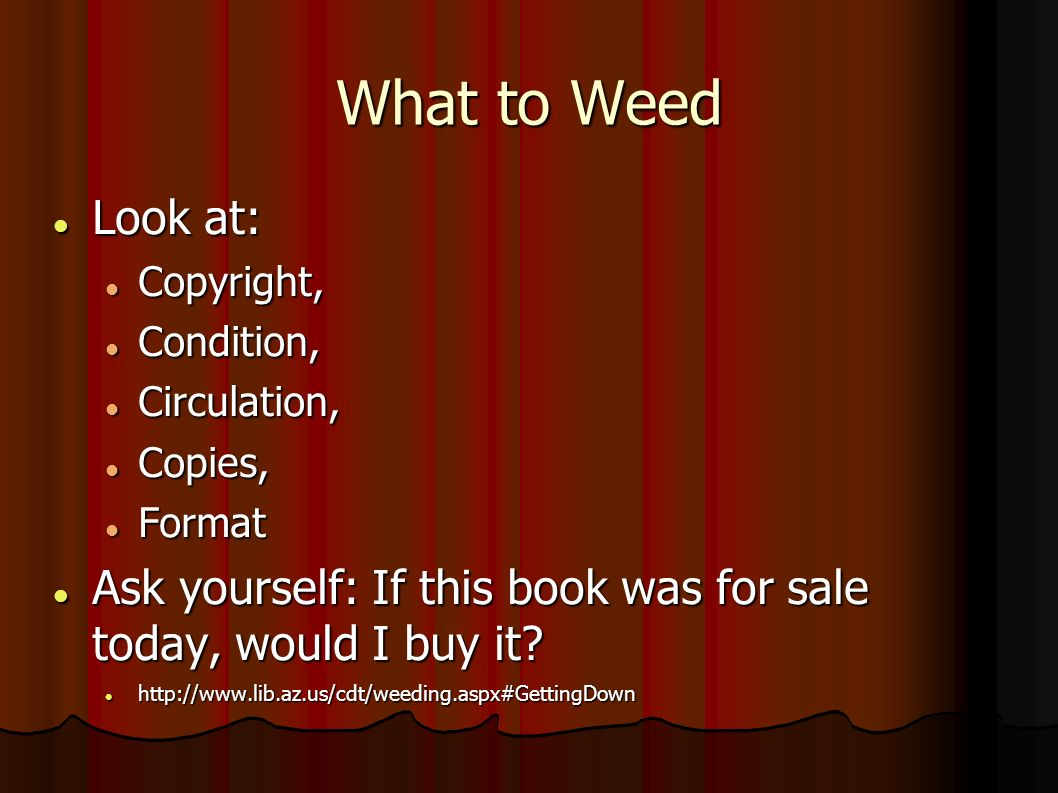 What to Weed Look at: Look at: Copyright, Copyright, Condition, Condition, Circulation, Circulation, Copies, Copies, Format Format Ask yourself: If this book was for sale today, would I buy it.
