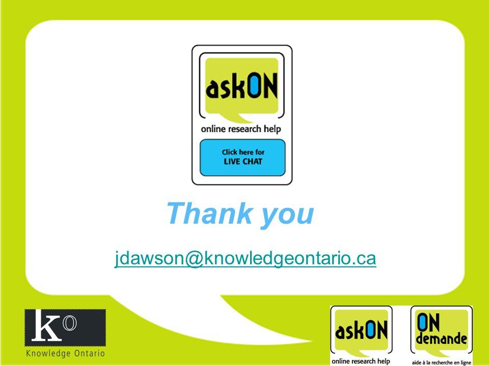 Thank you jdawson@knowledgeontario.ca