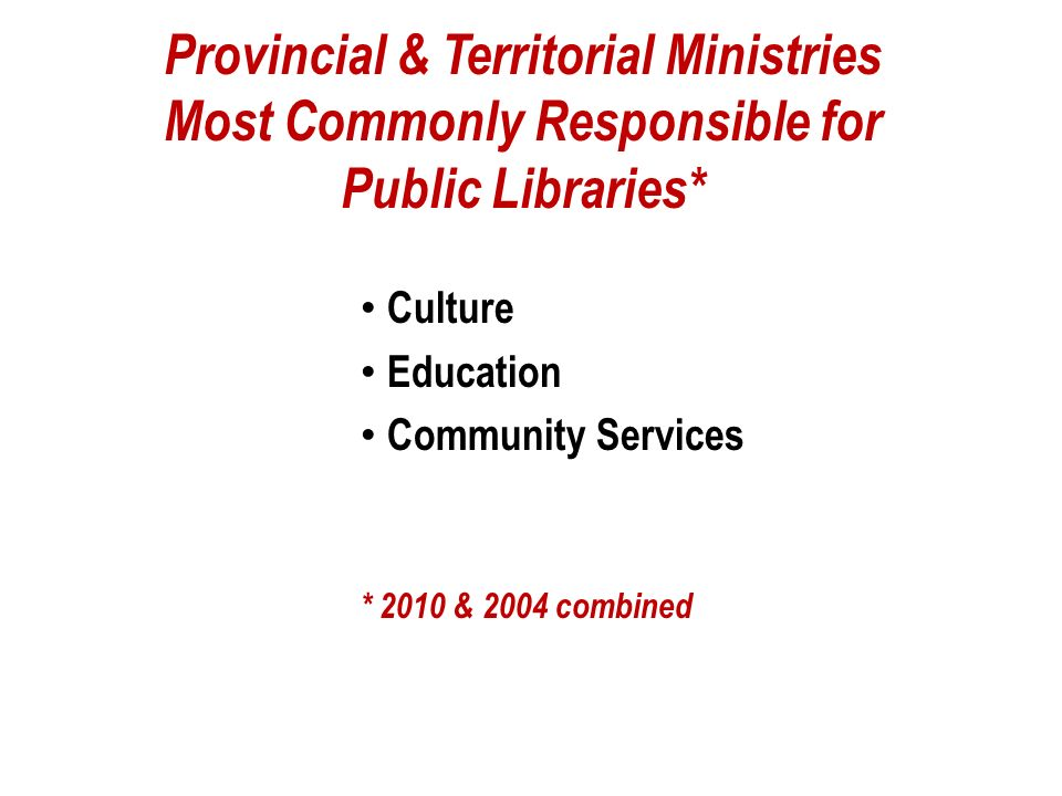 Alberta Government Departments (2004) agriculture childrens services community development* economic development energy & environment food & rural development government services health & wellness human resources & employment innovation & science justice learning** persons with disabilities seniors * public libraries ** school libraries ** post-secondary libraries