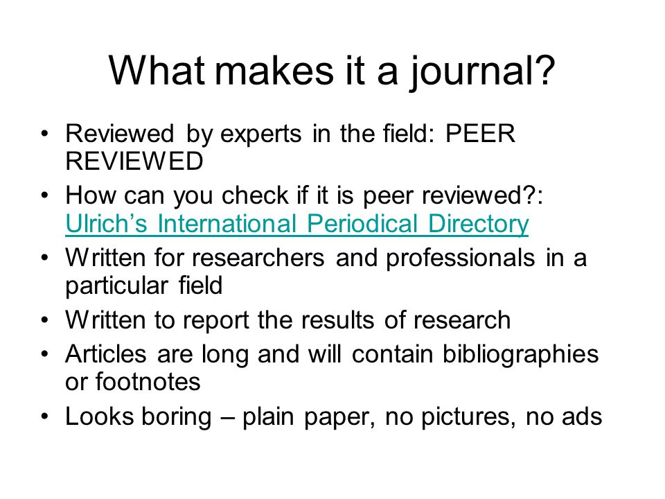What makes it a journal.