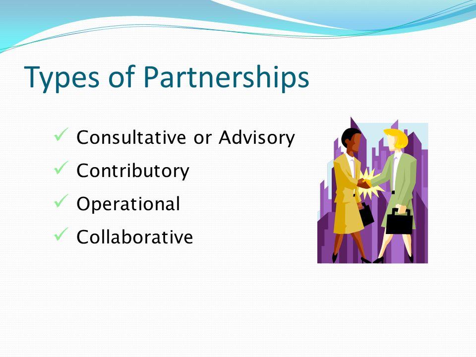Types of Partnerships Consultative or Advisory Contributory Operational Collaborative