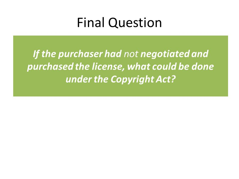 Final Question If the purchaser had not negotiated and purchased the license, what could be done under the Copyright Act?